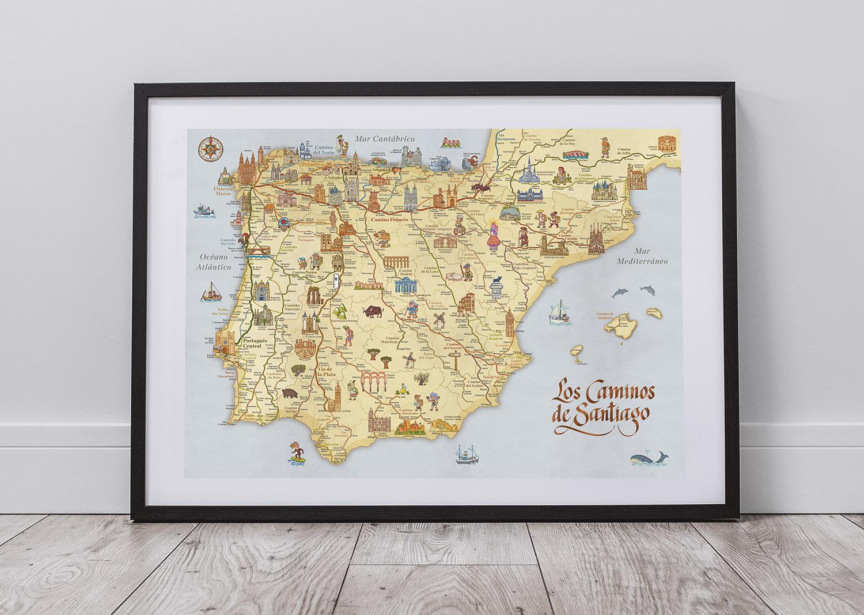 Mapa de todos los Caminos de Santiago
