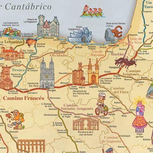 Mapa de todos los Caminos de Santiago (con tubo)